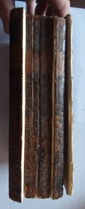 Boyer's Dictionary spine before restoration.