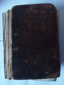 Boyer's Dictionary front cover before restoration.