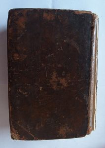 Boyer's Dictionary back cover before restoration.