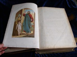 Family Bible frontispiece after re-attachment.