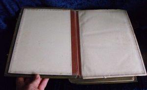 Family Bible endpaper before repair.