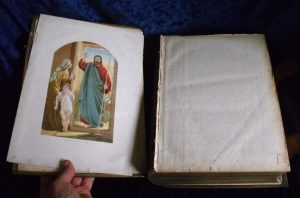 Family Bible frontispiece before repair.