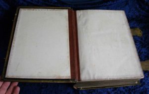 Family Bible endpaper and inside hinge after repair.