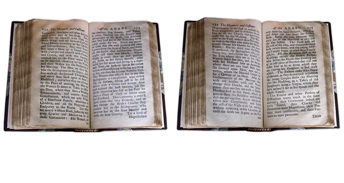 A replacement facsimile text page, front (left hand image) and rear/verso (right hand image)