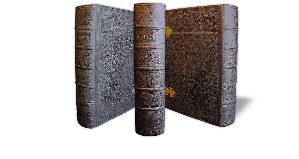 The same Bible after it was repaired with the original spine re-used