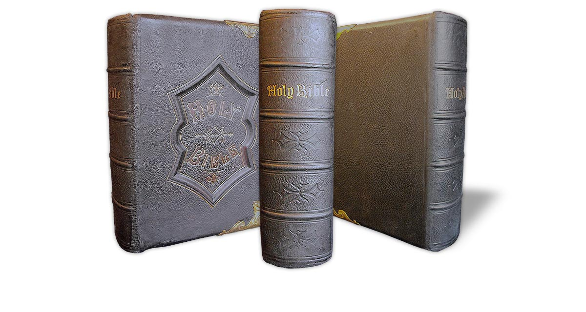 The same Bible once rebacked and re-coloured, with the original spine re-used