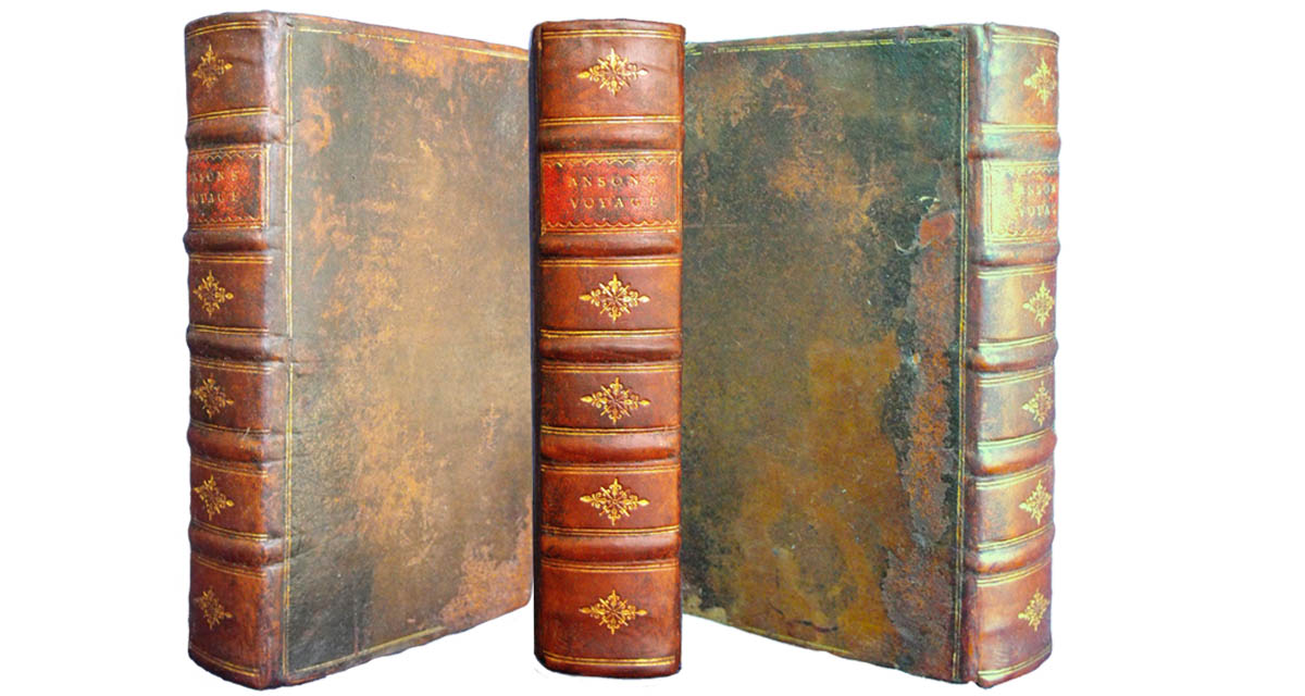 The spine of this book was rebacked in calf and the new spine was tooled in a contemporary style.