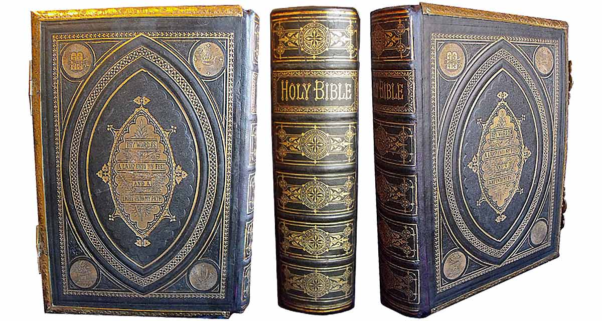 The same Bible rebacked, with its original spine mounted onto the new leather spine. Bible restoration