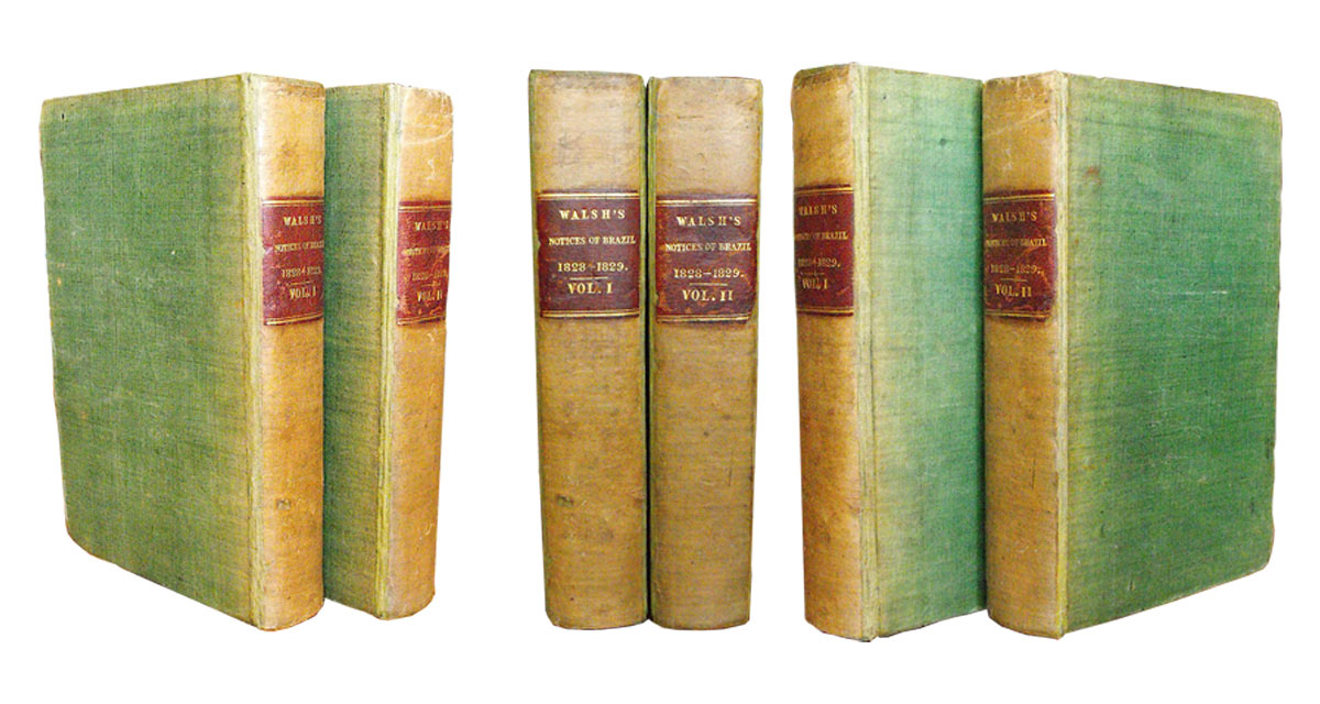 Both volumes were rebacked in cloth and their original spines were mounted onto the new ones leaving little of the new cloth visible. Book restoration