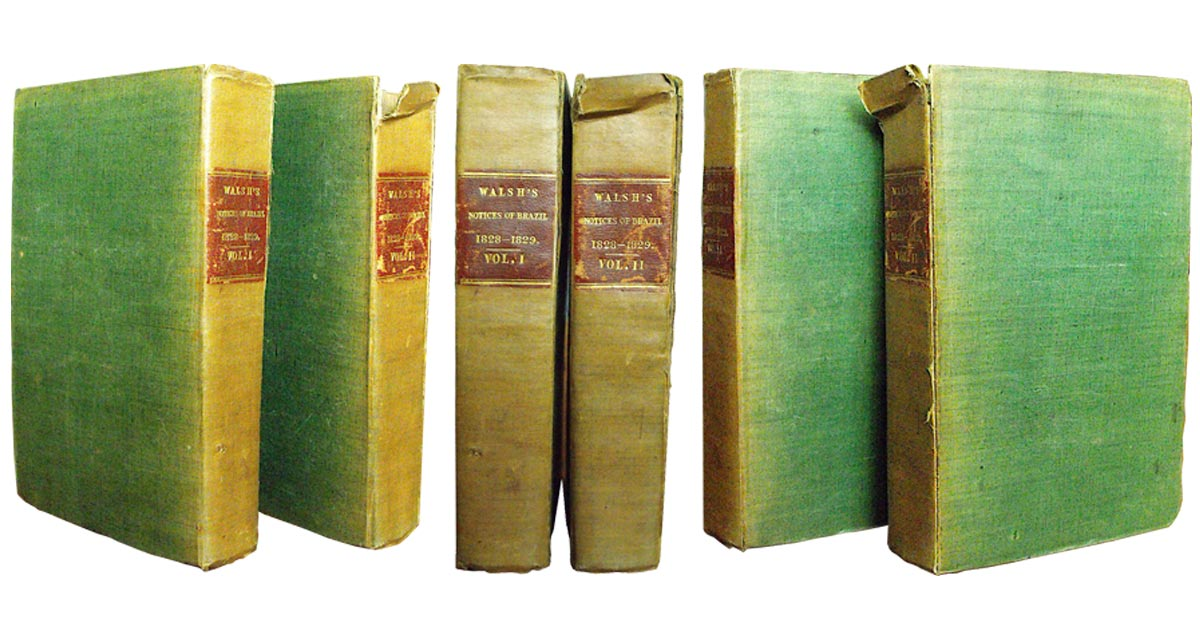 Both of these volumes were torn and frayed at the tops of their spines and the front hinge of Volume 2 was split.
