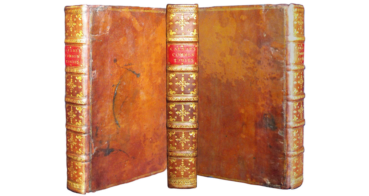 Caesar's Commentaries after the spine was repaired and tooled in the style of the original. Book restoration