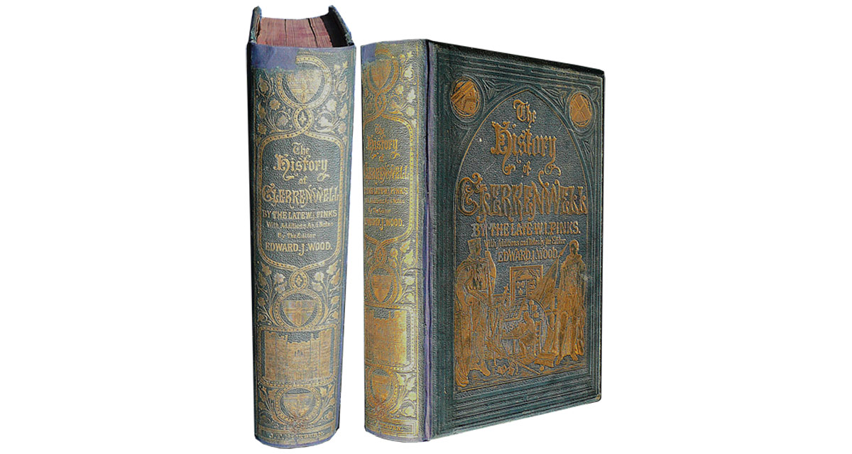 The text block was re-sewn and the book rebacked in cloth, incorporating the remains of the original spine. Book repair
