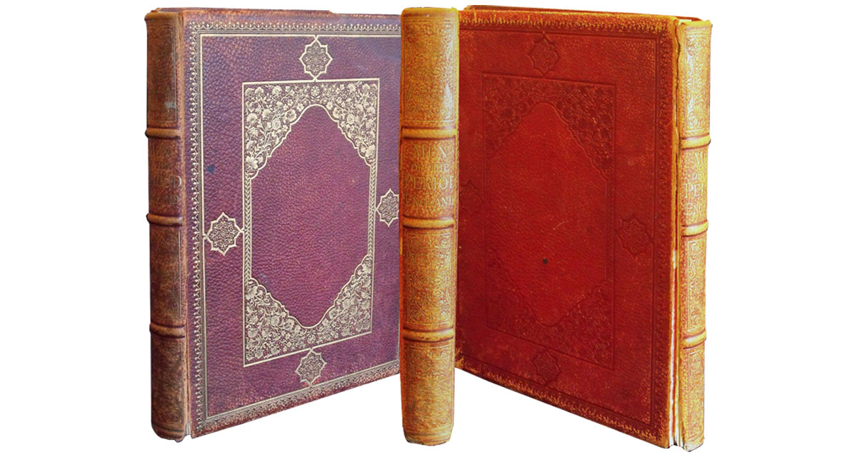The hinges had split on this Morocco binding and the leather covering was quite faded