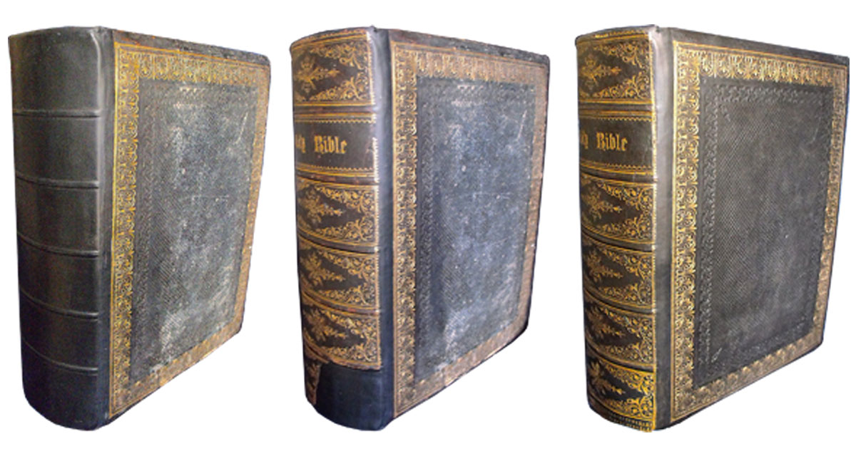 This Bible had part of its spine missing. The Bible was rebacked, the remains of the spine were mounted and the missing gold decoration was re-tooled.