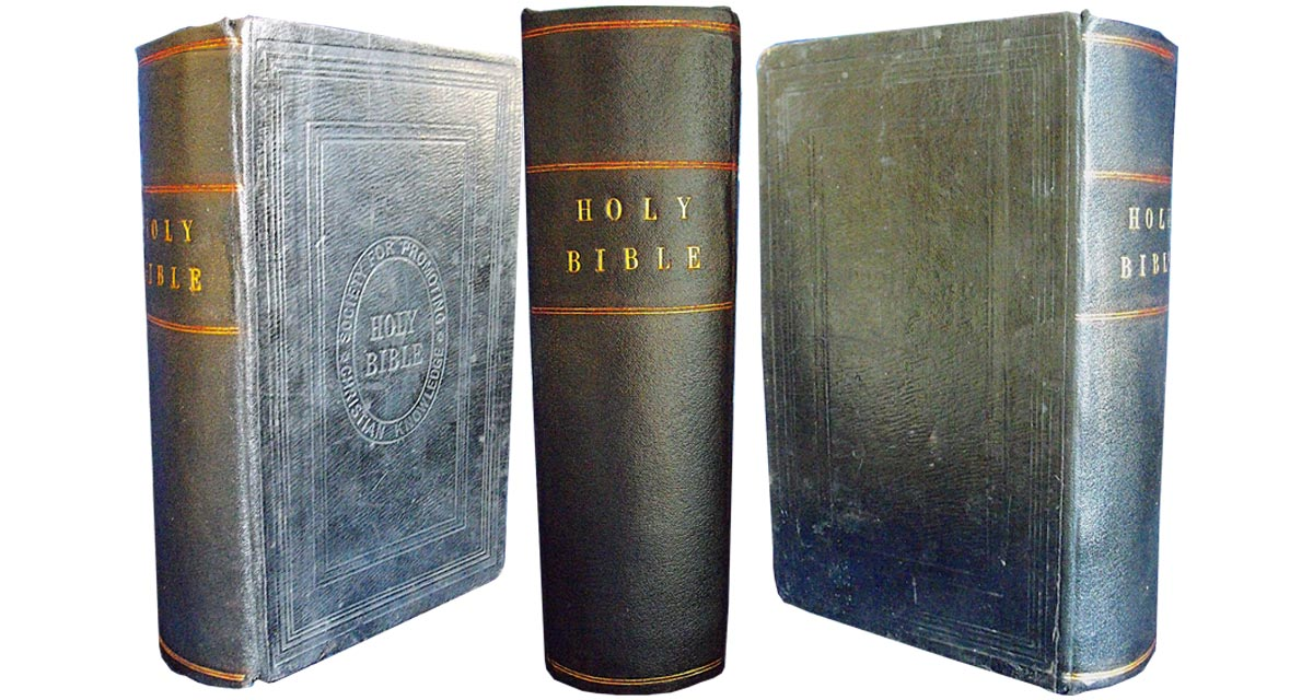 A new spine was created and then tooled in gold in a period style. Bible repair