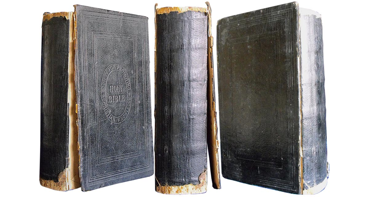 This small Victorian family Bible bound in leather cloth had lost its original spine.