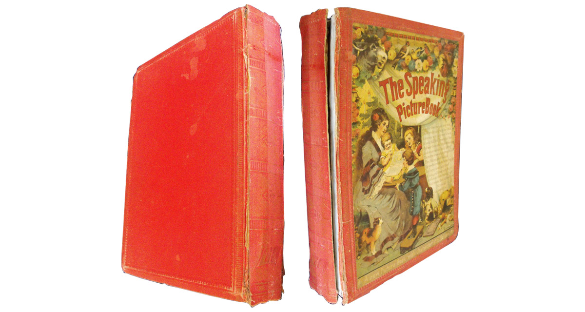 This Victorian children's 'Speaking Picture Book' had a torn binding and was damaged internally.