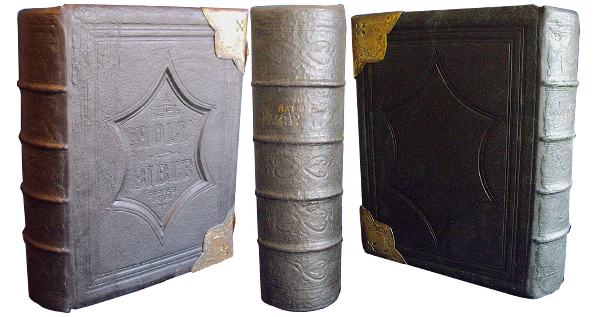 The covers were re-attached and the original spine was mounted onto the replacement leather spine.